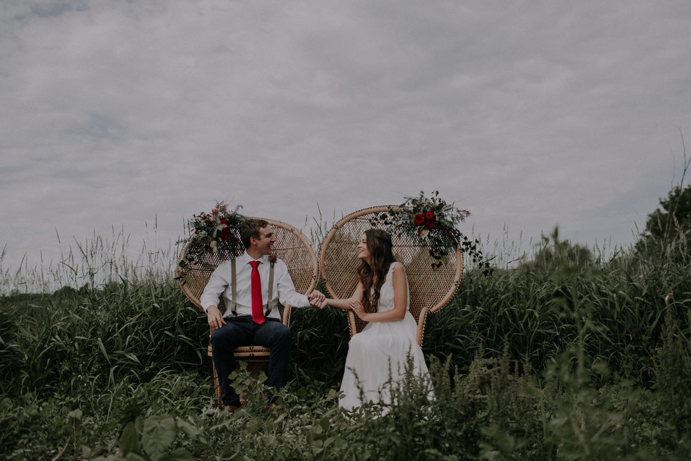 Game of Thrones Inspired Elopement shoot with deep red roses and moody wedding photography