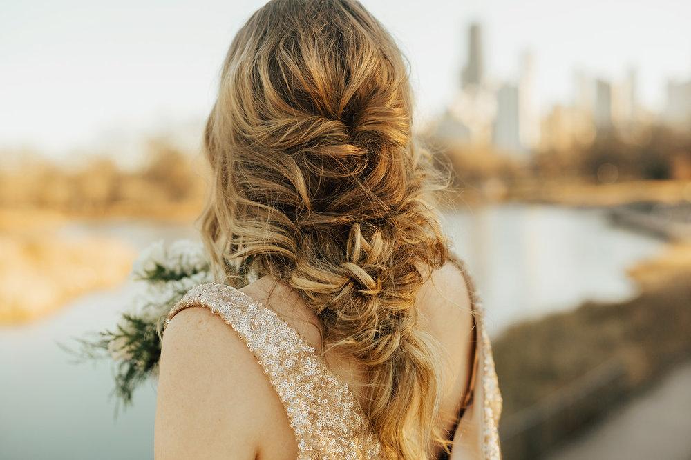 Loose Wedding Curls| Winter Wedding Chicago Gold Wedding White Floral | Chicago Wedding Planner | Your Day by MK