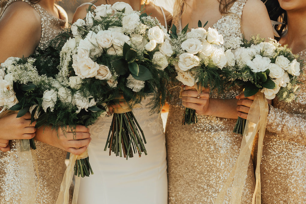 white and green winter wedding floral bouquets | Winter Wedding Chicago Gold Wedding White Floral | Chicago Wedding Planner | Your Day by MK