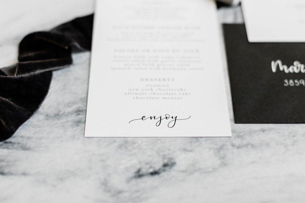 Black and White Calligraphy | Wedding Invitation | Chicago History Museum | Black and White Wedding | Black Tie Wedding | Your Day by MK | Chicago Wedding Planner | Black Flatware