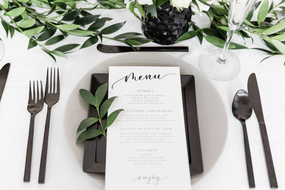 Grey and Black Plates | Black Flatware | Chicago History Museum | Black and White Wedding | Black Tie Wedding | Your Day by MK | Chicago Wedding Planner |