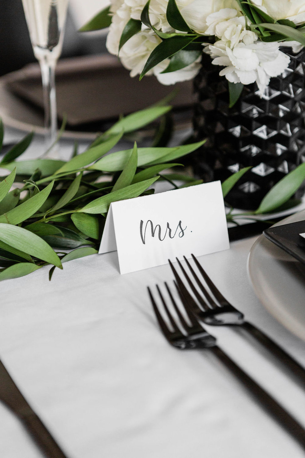 Black Calligraphy | Place Card | Black flatware | Chicago History Museum | Black and White Wedding | Black Tie Wedding | Your Day by MK | Chicago Wedding Planner |