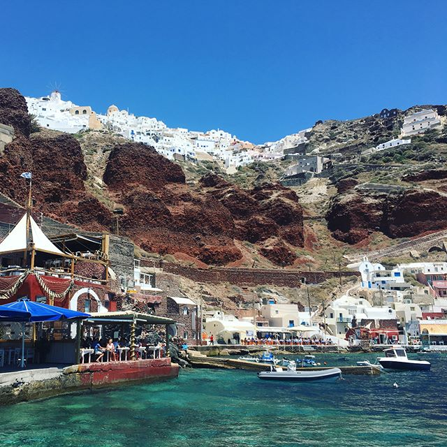 Santorini from the sea!  #greece #santorini #oia #redbeach #whitebeach #volcano #hotsprings #love #iwishicoulddothisallthetime #vacation #withmygirlfriendofcourse #shesthebest