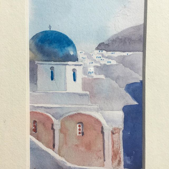Heading home from Santorini!  What a great time!  Thanks to Apollo Koliousis for generously sending us home with this painting!  See y'all stateside!! #greece #vacation #santorini #ilovemygirlfriend #shesthebest