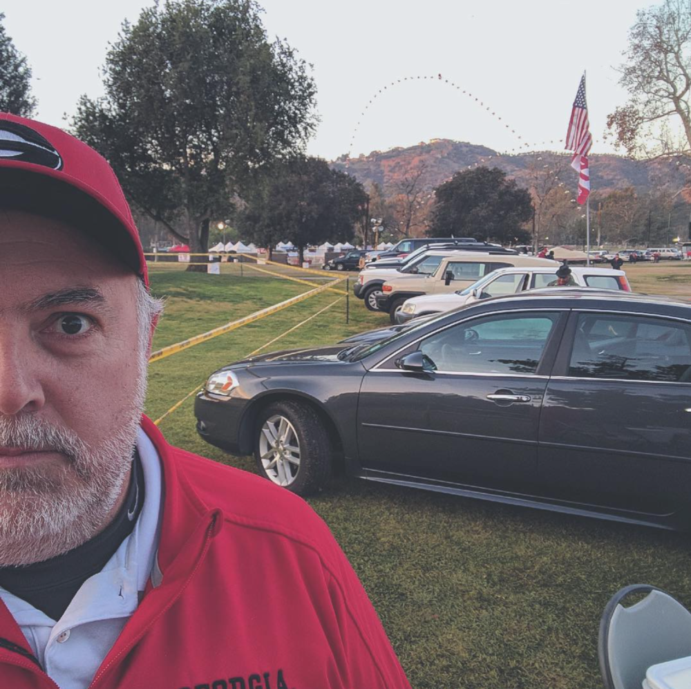 Tony Waller (aka  Tyler Dawgden ) tailgating for the 2018 Rose Bowl