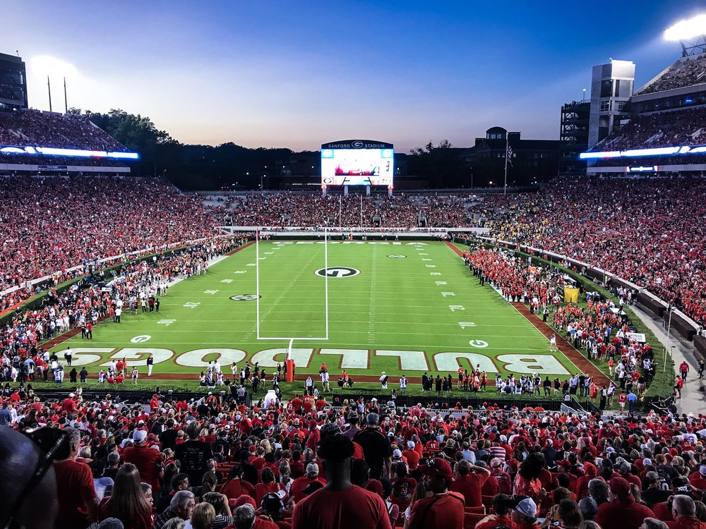 2017 Georgia vs Missouri as the sun sets in Athens.