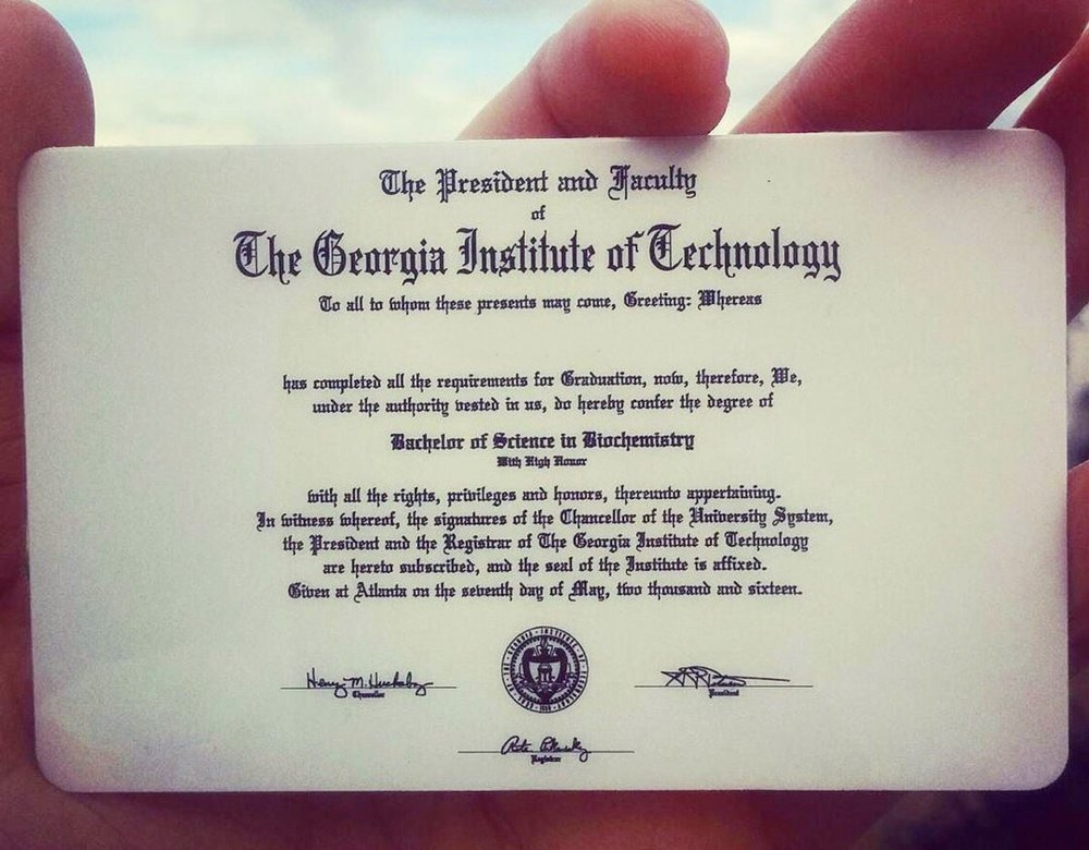 GT Diploma with UGA Arch.JPG