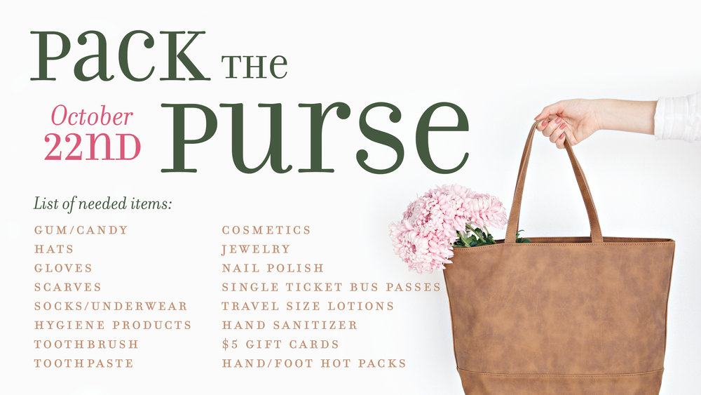 Pack the Purse by Motivational Me at Foundations Church October 22