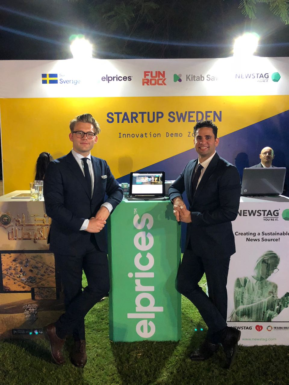 Our co-founders at our elprices Booth - Sweden Day Event