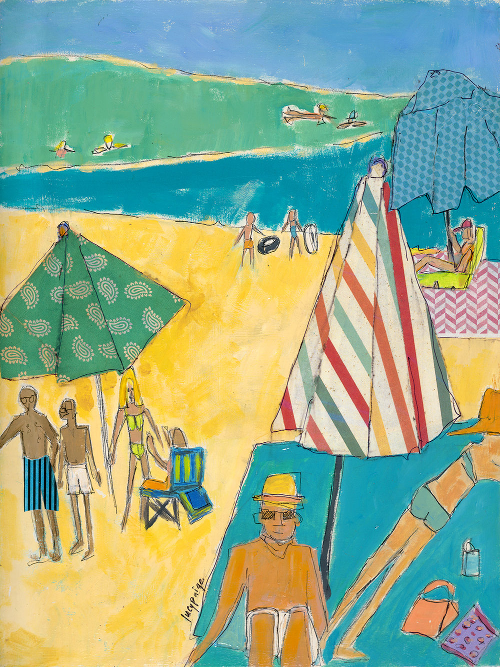 lucy paige artist key west beach day series collage Laying Out.jpg