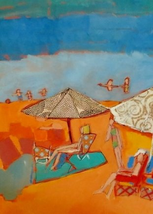 lucy paige artist key west beach day series collage SittIng in My Beach Chair.jpg