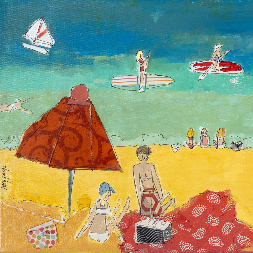 lucy paige artist key west beach day series collage Smathers Beach A .jpg