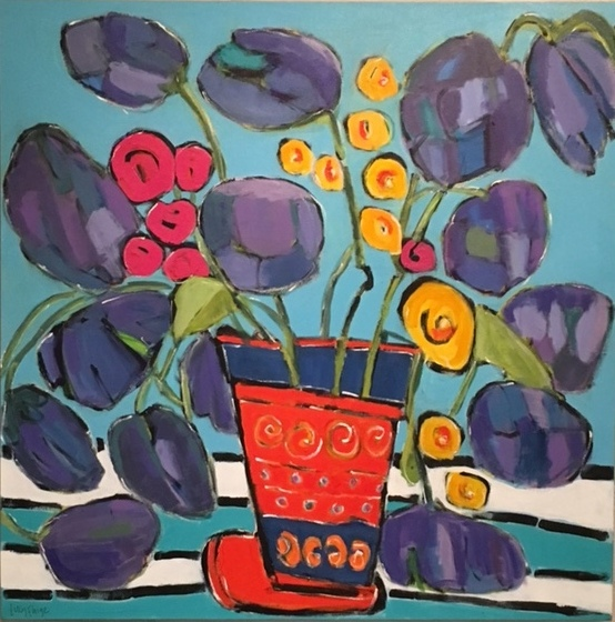 lucy paige painter key west artist abstract collage - Blue Bells.jpg