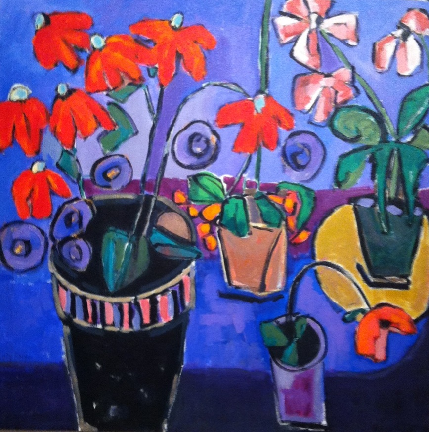 lucy paige painter key west artist abstract collage - Pots in Purple.jpg