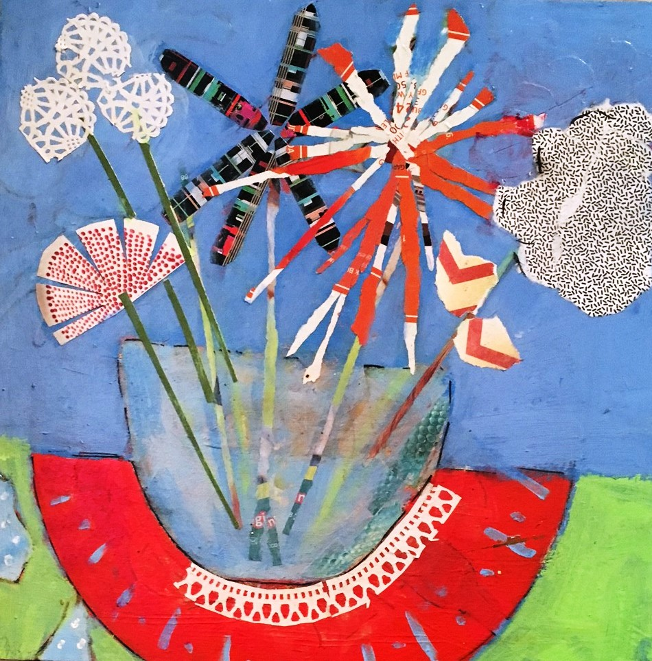 lucy paige painter key west artist abstract collage - Wild Flowers.jpg