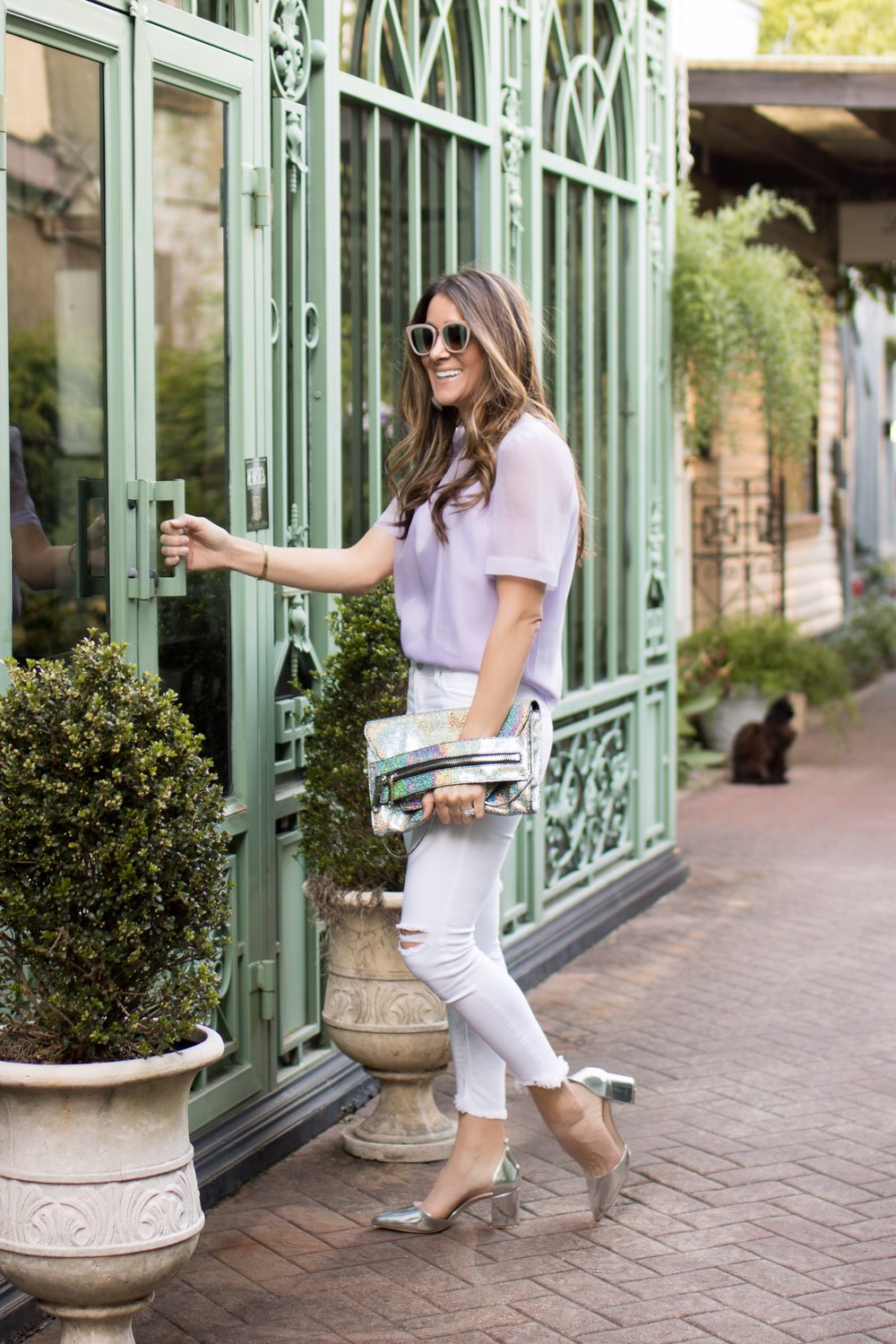 TOP: TARGET  AND SIMILAR  HERE  AND  HERE  | JEANS: BLANK NYC SIMILAR  HERE  AND  HERE  | SHOES:  ANTONIO MILANI  FROM DILLARDS | BAG: MILLY (THIS IS OLDER...SIMILAR  HERE  AND  HERE )|NECKLACE: DIANA WARNER (SIMILAR  HERE )| EARRINGS: LELE SADOUGHI ( HERE ) | SUNGLASSES:  JIMMY CHOO  | BRACELET: CARTIER