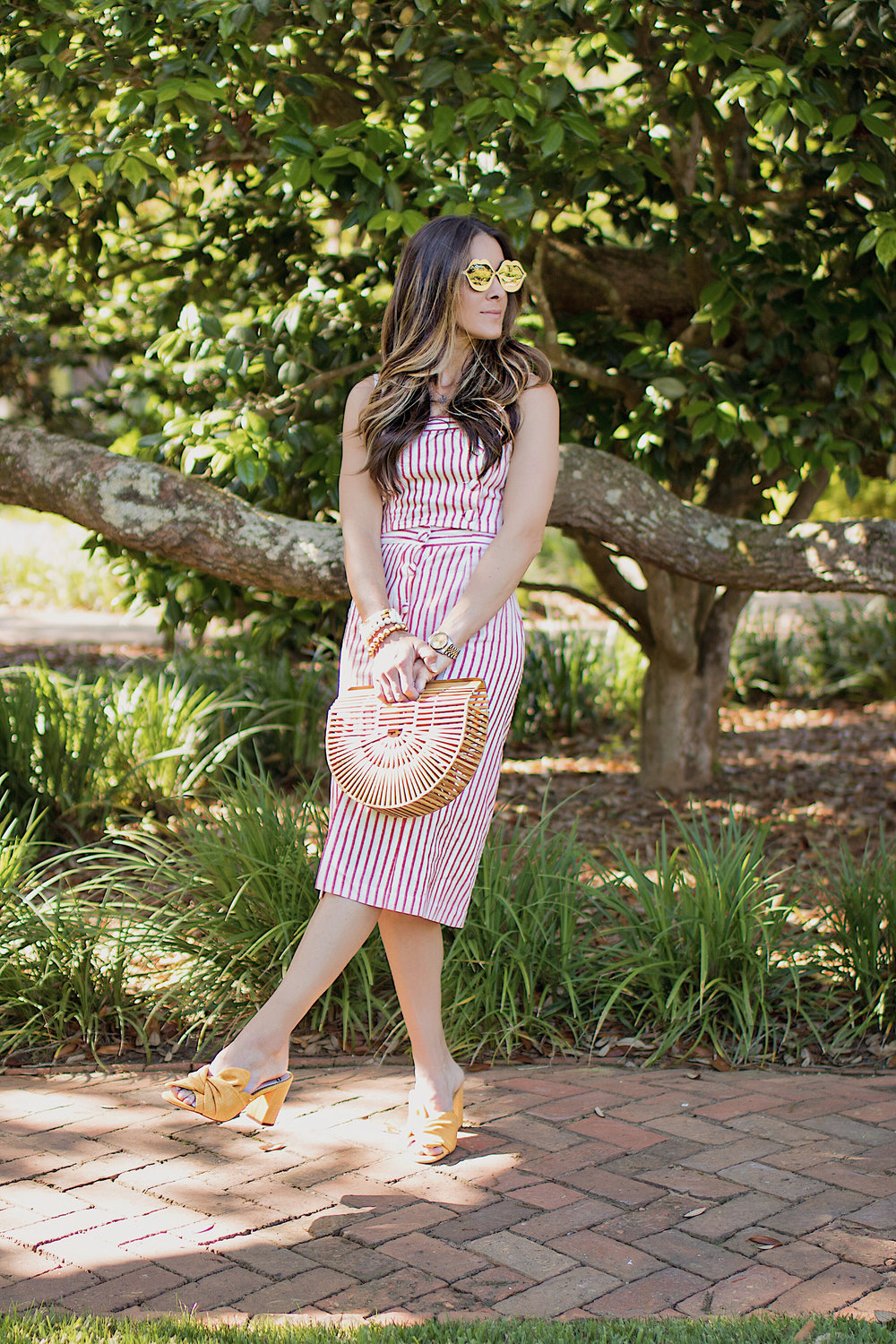 SKIRT -  FOREVER21  | TOP -  FOREVER21  | SHOES - SAM EDELMAN  HERE  AND  HERE  | BAG -  HERE  | SUNGLASSES -  TARGET  | WATCH - ROLEX -  HERE  AND SIMILAR  HERE  | BRACELET STACK -  SPROUTS DESIGNS  | LIPSTICK -  NARS