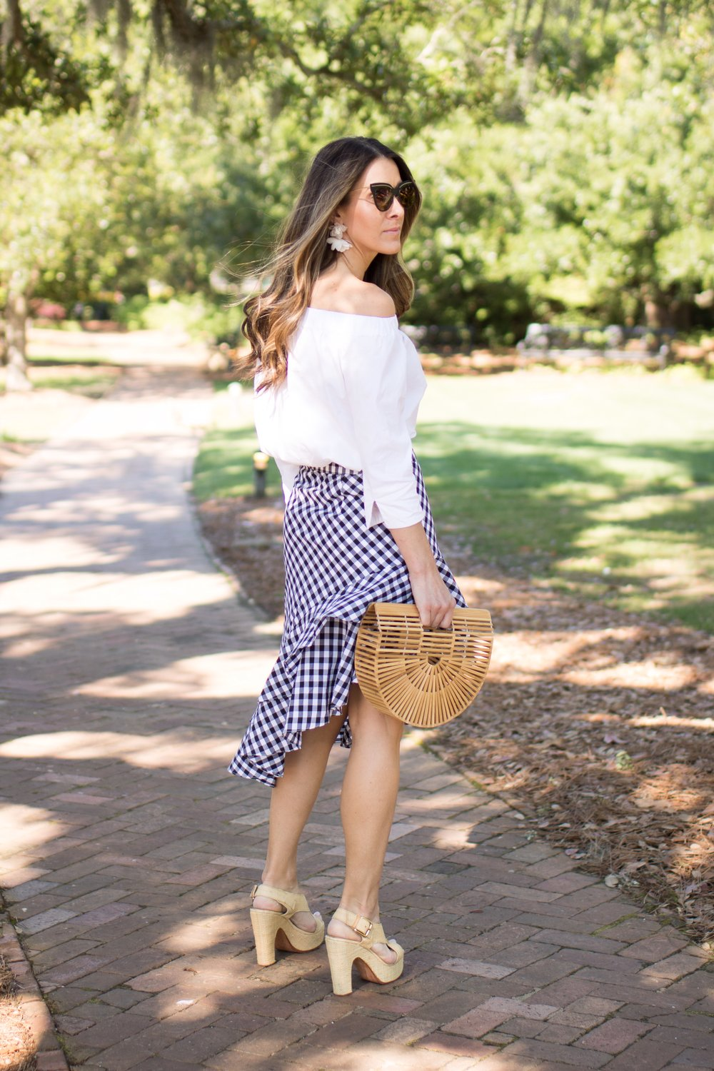 SKIRT -  TARGET  | TOP - ZARA - SIMILAR  HERE  AND  HERE  | SHOES - KORS - SIMILAR  HERE  AND  HERE  | BAG -  HERE  | SUNGLASSES -  BOTTEGA VENETA  | EARRINGS -  SPROUTS DESIGNS  | LIPSTICK -  NARS