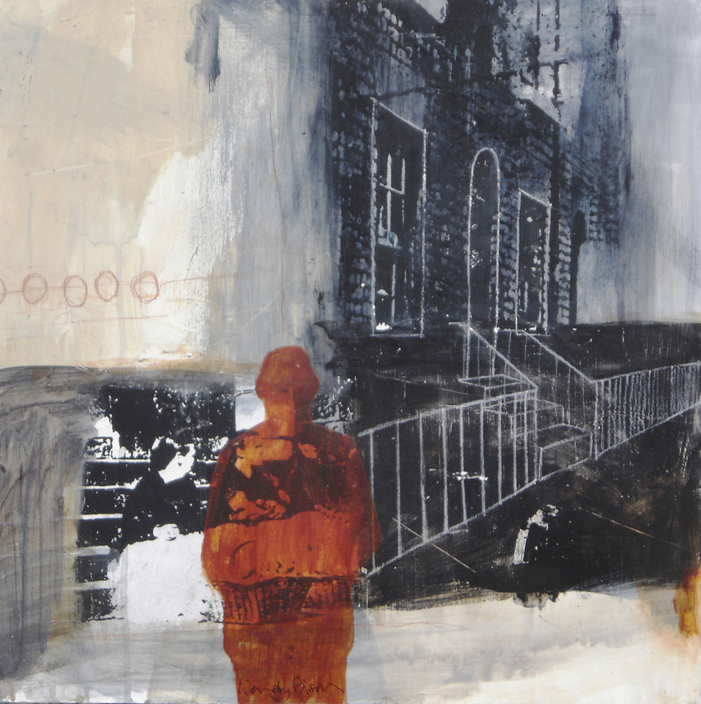 Crossing Place  Mixed media on board 50.5 x 50.5 cm 2008