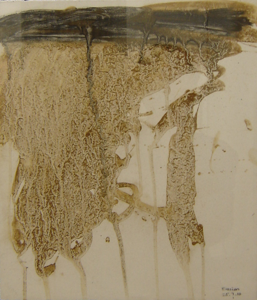 Erosion 2 Mud on gessoed paper 41 x 35 cm 2009