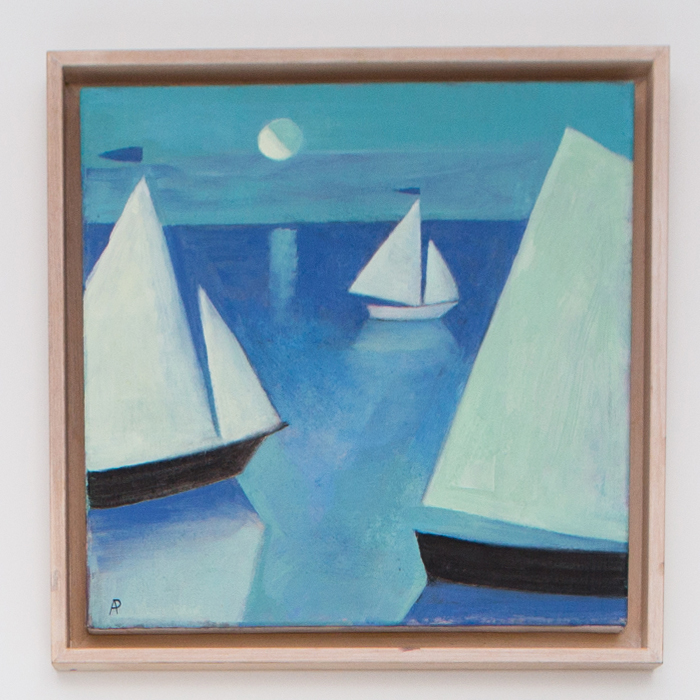 THREE BOATS AND MOON, 2015