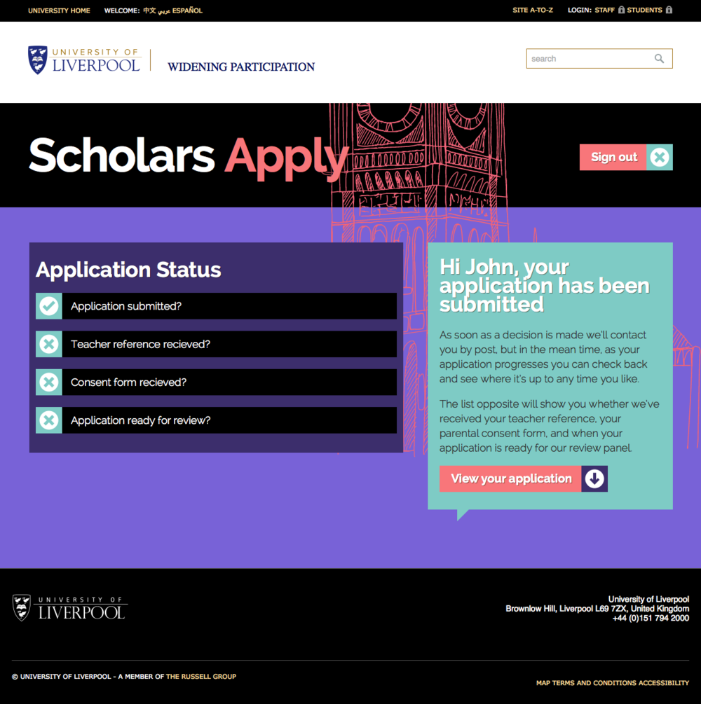 The Scholars app from the University of Liverpool. Screenshot appears courtesy of University of Liverpool.