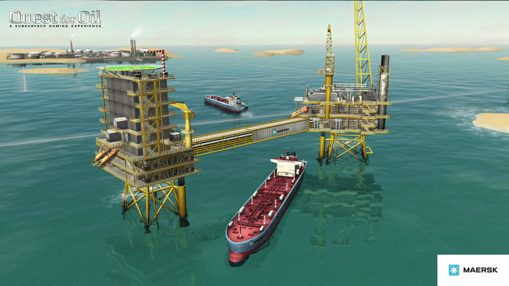 A picture from Maersk's Quest for Oil game. Image downloadable from the  Quest for Oil press pack .