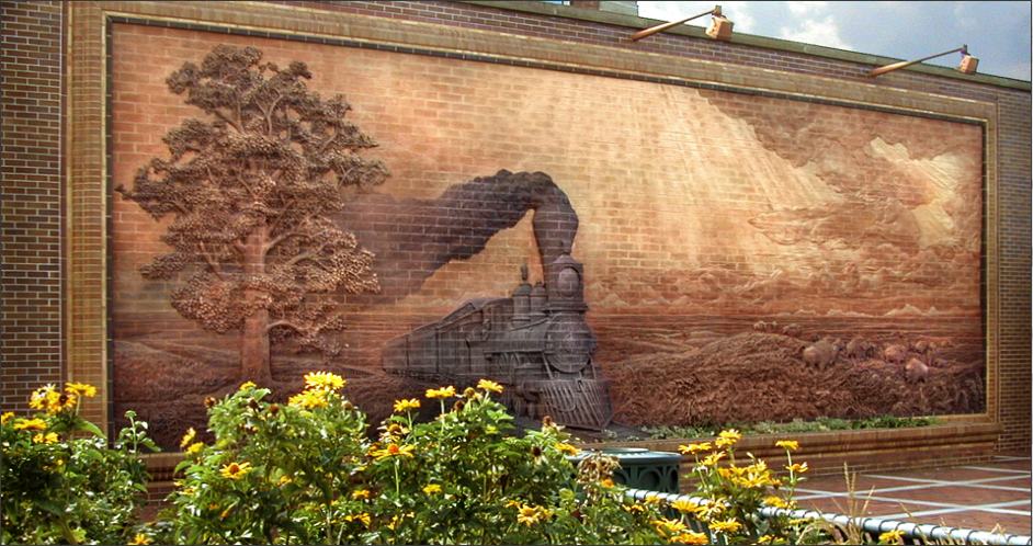 IRON HORSE LEGACY 14′ x 40′ exterior brick mural Lincoln Station, Haymarket District Lincoln, Nebraska – July 1990