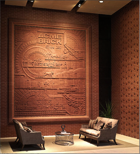 ACME BRICK LOBBY MURAL 9′ x 12′ interior brick murals Acme Brick Headquarters Fort Worth, Texas – August 2007