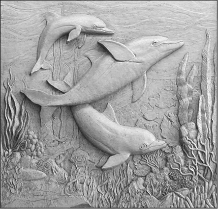 DOLPHIN FAMILY 5′ x 5′ interior brick mural Private residence Omaha, Nebraska – May 2003