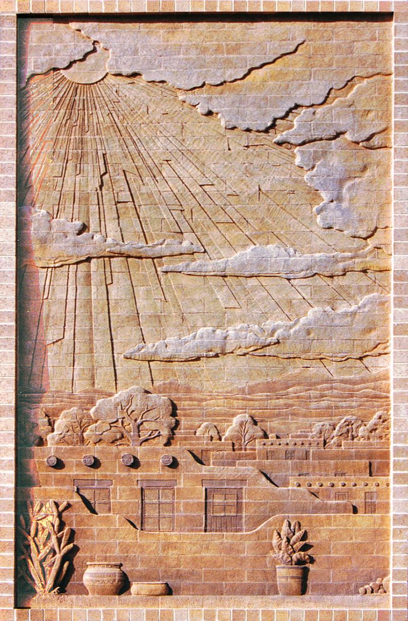 SOUTHWEST MOTIF 9′ x 15′ exterior brick mural La Luz Life Link Santa Fe, New Mexico – August 1998