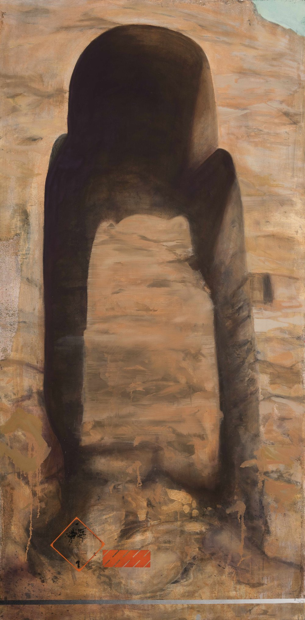 The Tomb  oil + screen on canvas  72x36""