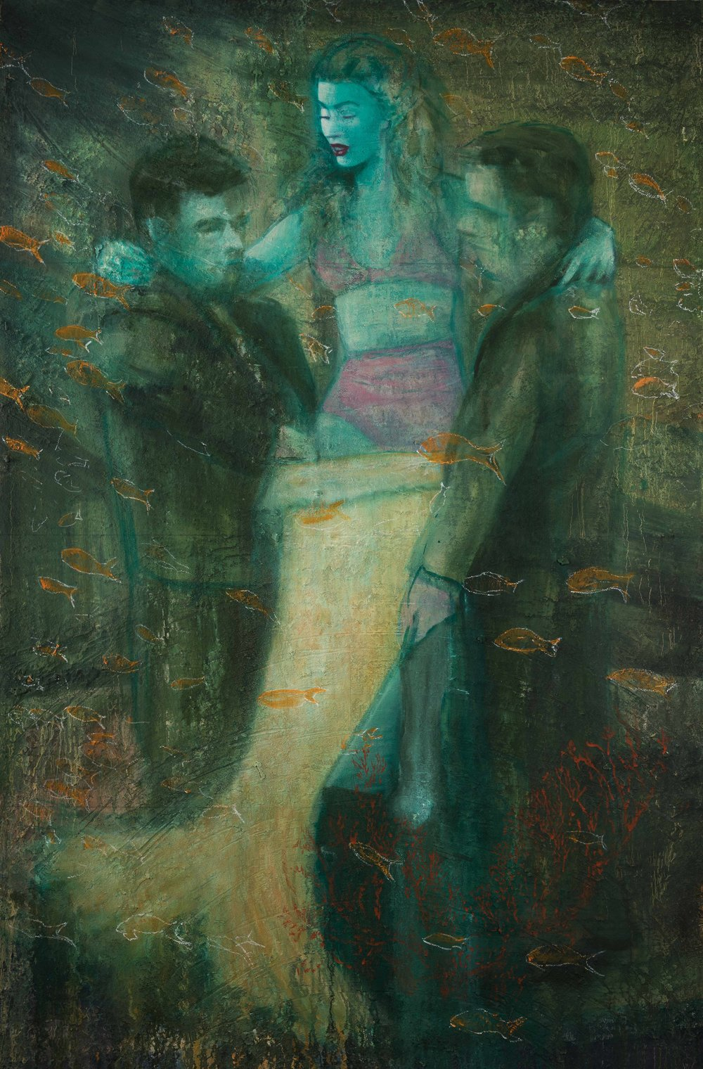 The Mermaid   oil + sand on canvas  96x56""