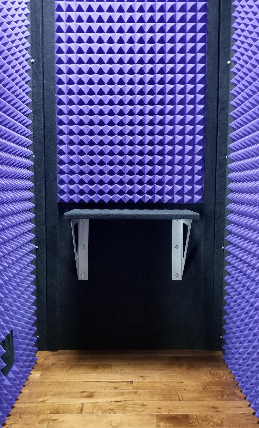 Shelf - Purple Foam with Dark Hardwood Floor