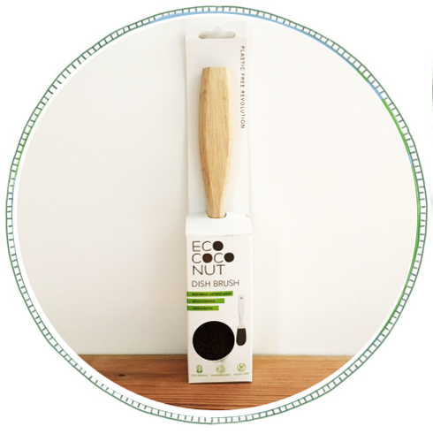 - £5From brand Eco Coconut. Made with FSC certified recycled Rubber tree's grown in a plantation.The bristles are made from sustainably farmed coconut husk's.All packaging 100% Plastic Free, this includes labels and tape.A biodegradable and highly durable multipurpose cleaning brush that cuts through tough grease and is safe on non-stick fry pans.Non scratch, naturally antibacterial.