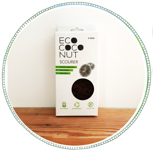 - £5From Eco Coconut. Made from from sustainably farmed coconut husk's. All packaging and shipping materials are 100% Plastic Free, this includes labels and tape. A biodegradable and highly durable multipurpose scourer. Safe on non-stick fry pans, non scratch, great on hard surfaces, easily removes mould, naturally antibacterial.