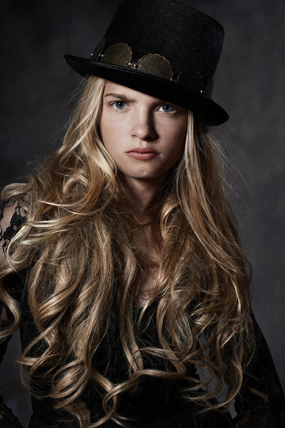 Marta-Hewson-Themed-portrait-hair-extensions-tophat.jpg
