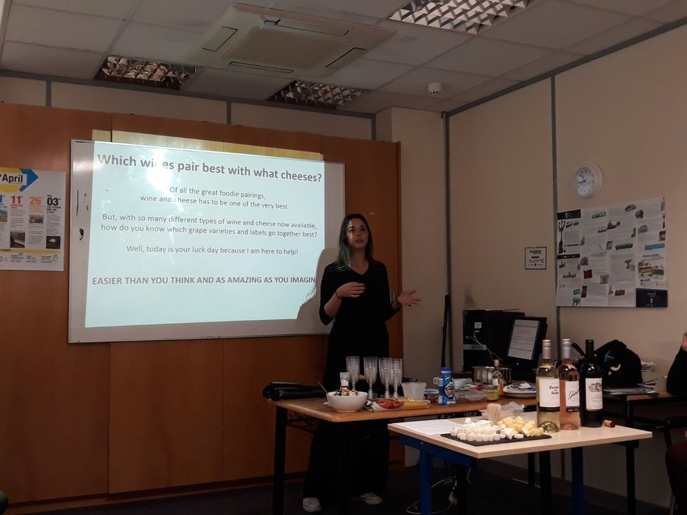 Marcela:Wine & Cheese - She prepared a class talking about flavors, compositions, wine regions and history.
