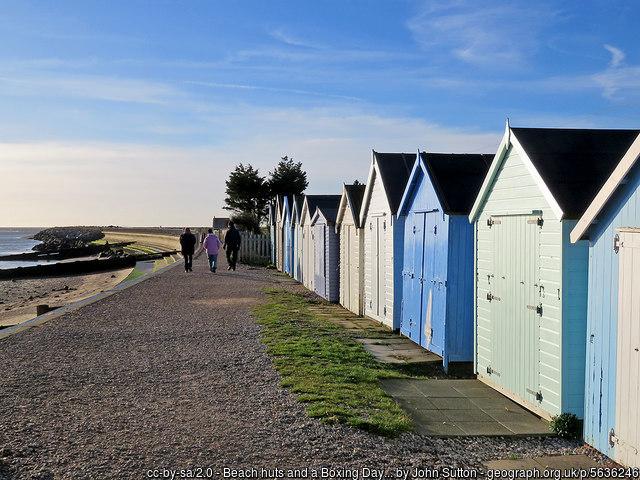 Beach huts in Felixstowe, UK.
