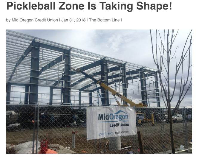 Indoor Recreational Opportunities  - Pickleball Zone is Taking Shape Inside 18th Street Sports Complex...
