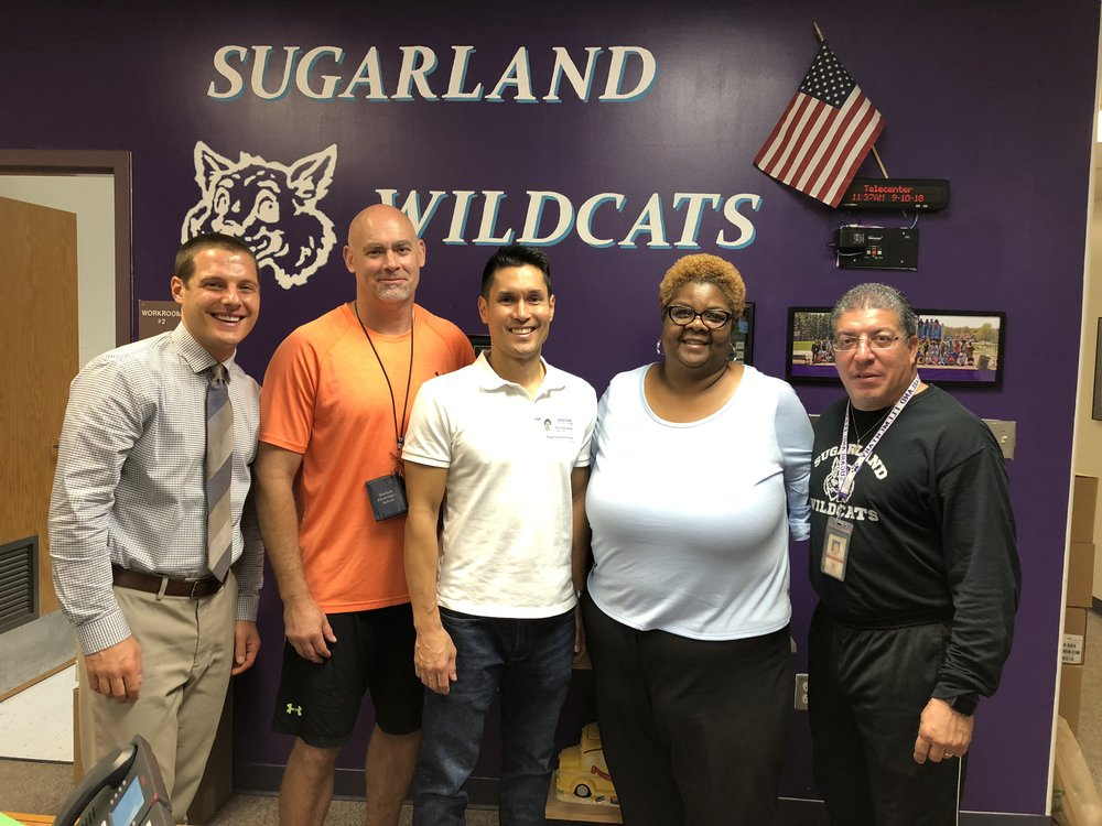 (Left to Right) Dr. Mihalik (AP), Mr. Funkhouser (PE), Ken Savittiere (K12AF & FCFRD), Dr. Brady (P), Mr. Cortes (PE)  Slide Show/Video's - PE Class, Soccer Club, Basketball Club and Fitness Club