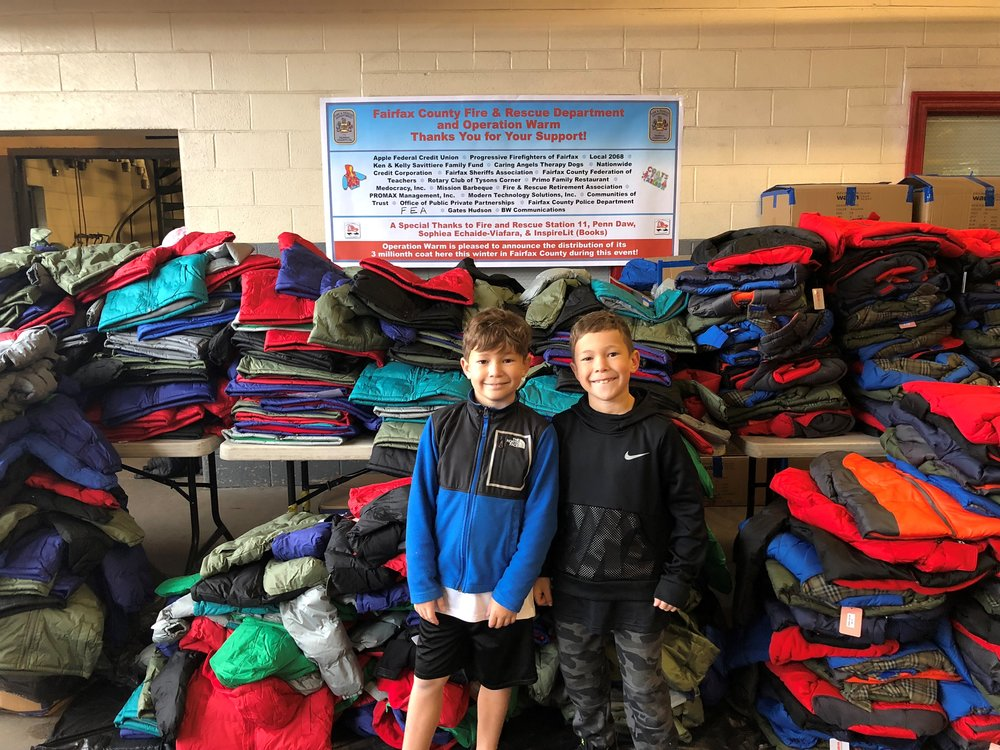 (Left to Right) Maks and Madden at the Coat Drive Oct. 2018 after all their hard work