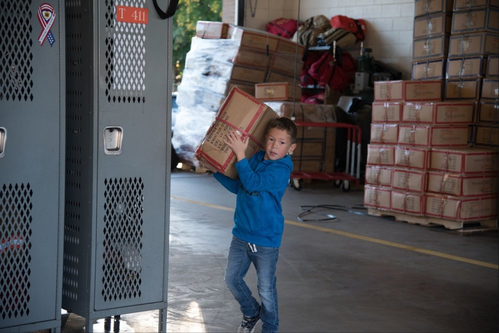Madden working hard at the Coat Drive Oct. 2017