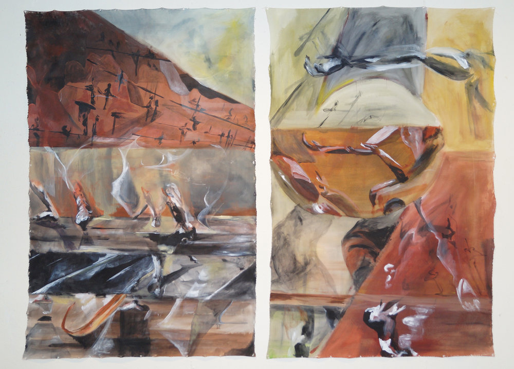 """Inside/Outside"" 2014, acrylic, two 4 x 6' panels"