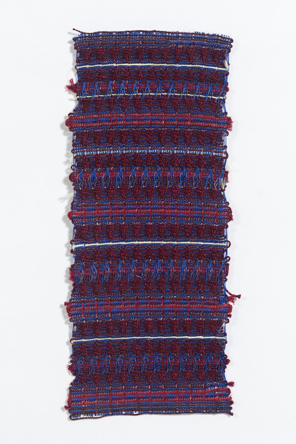 "woven on 24-harness dobby loom, approximately 6 x 8"", found yarns"