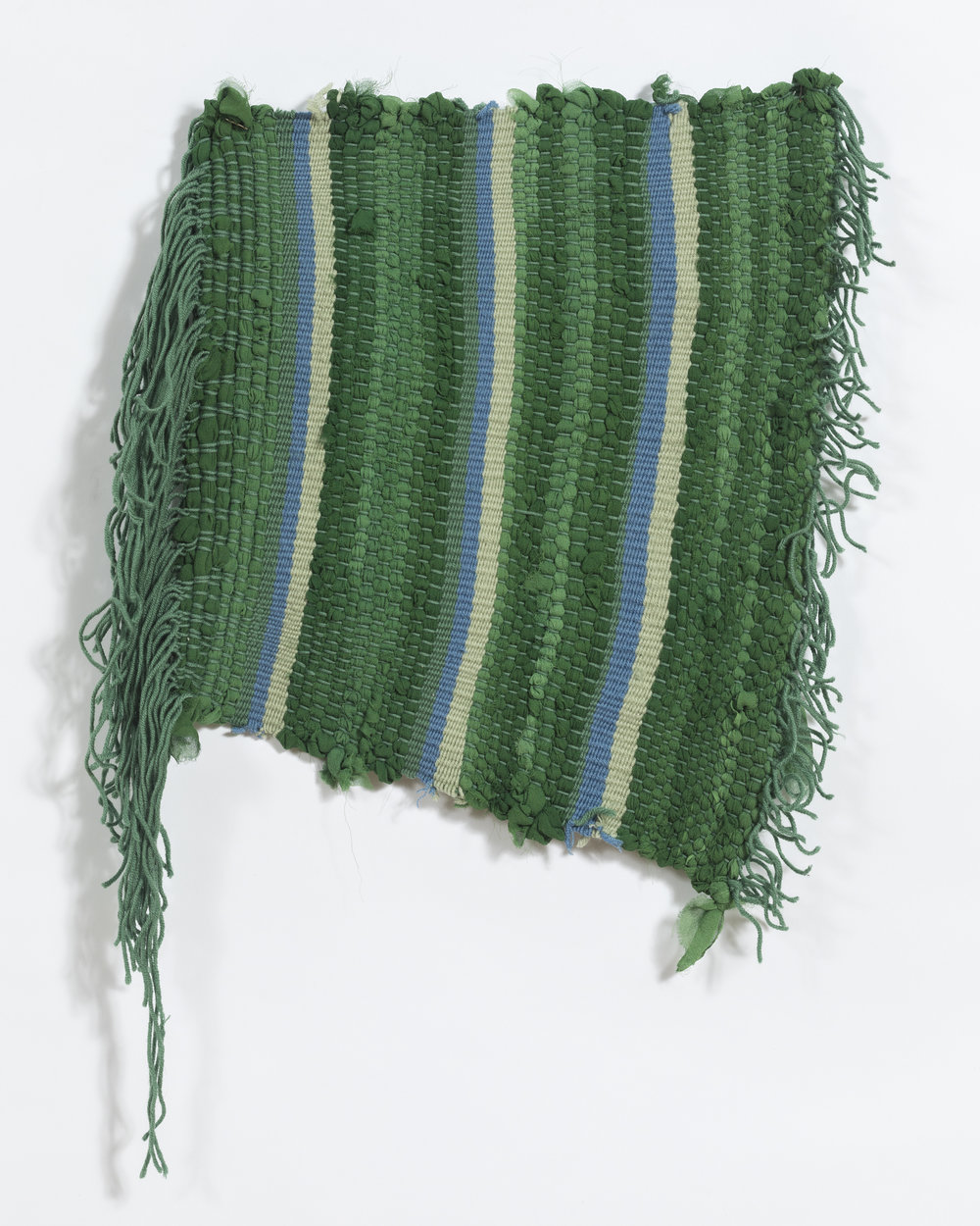 """woven on hand made frame loom, 10 x 12"""", found yarns and silk"""