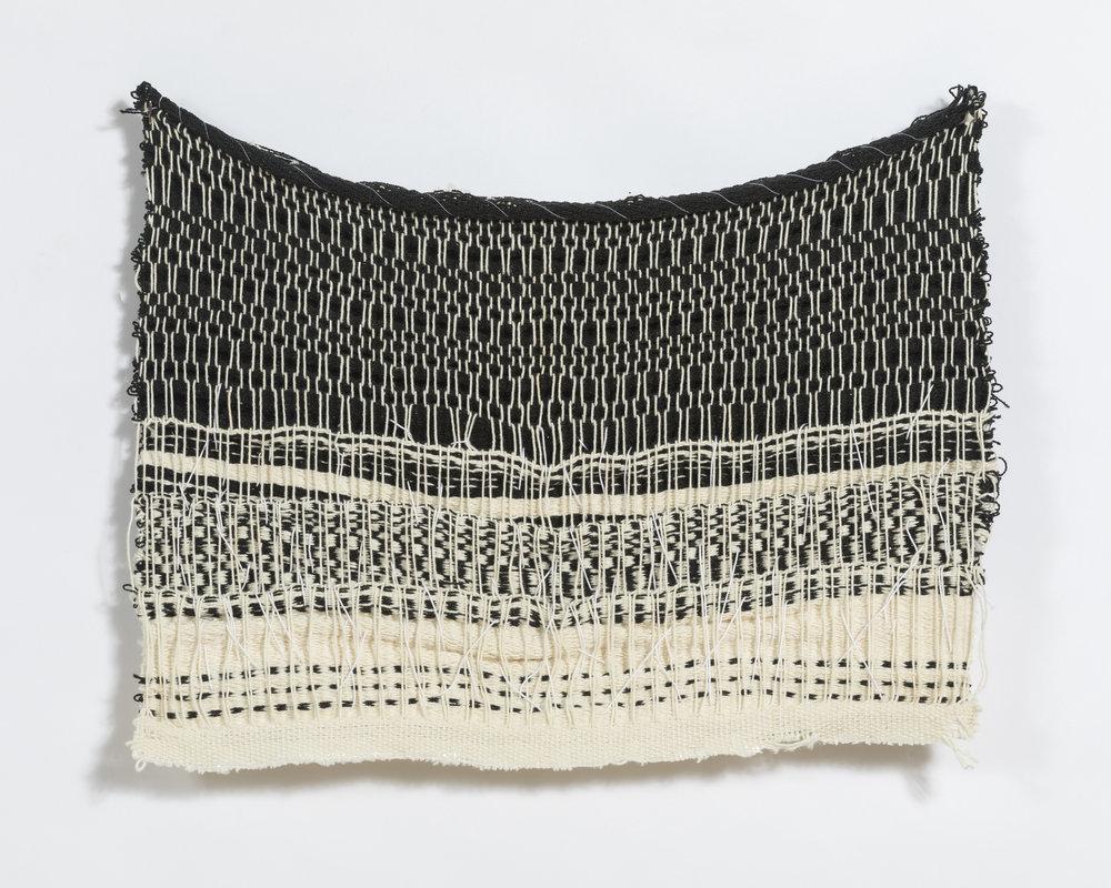 """woven on 8-harness floor loom, 10 x 12"""", found yarns"""