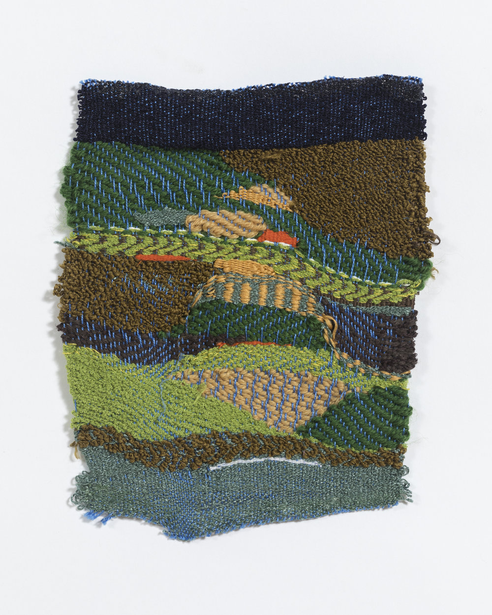 """woven on 8-harness floor loom, approximately 8 x 10"""", found yarns"""