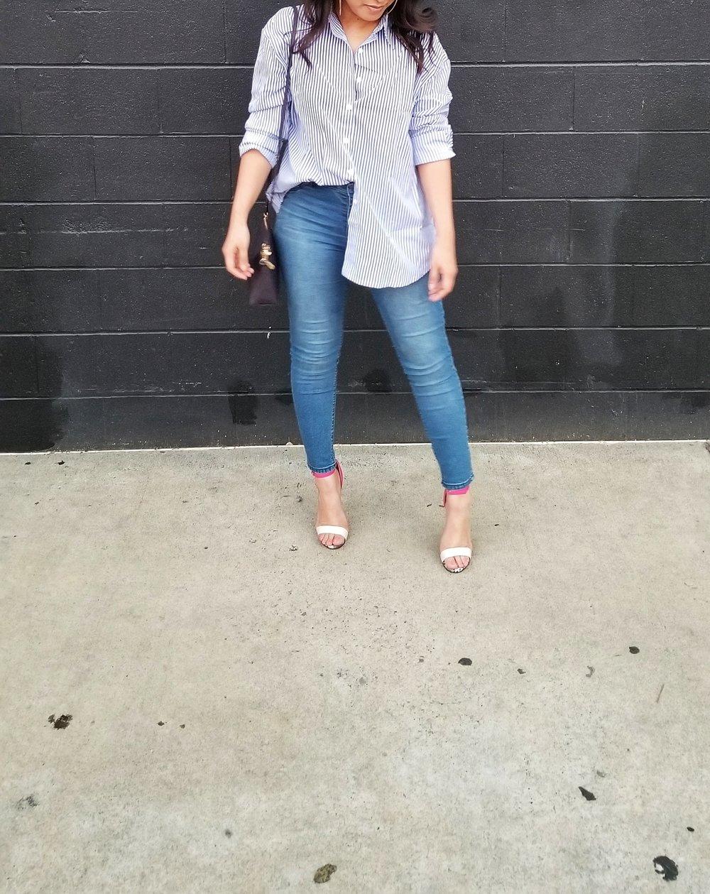 Bottom: Blue Spice jeans from TJMaxx   Handbag: H&M