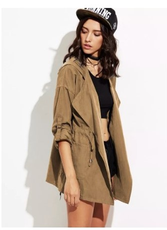 Roll Up Sleeve Drawstring Hooded Coat